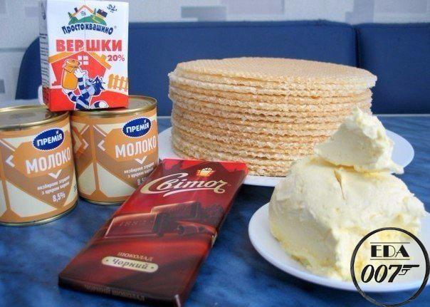 Вафельный торт со сгущенкой и шоколадом приготовление